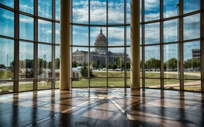 Picture view, window, columns, historical Museum, Oklahoma History Center