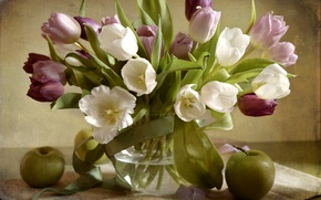 Wallpaper Apple, tulips, texture, bouquet