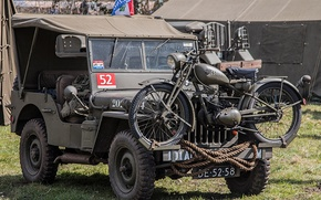 """Picture war, motorcycle, car, army, Jeep, world, Second, times, """"Willis-MV"""", Willys MB"""