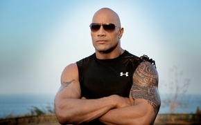 Picture muscles, Dwayne Johnson, sunglasses, spiders