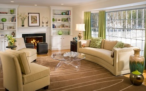 Picture fire, furniture, home, interior, window, chairs, fireplace, curtains, table, flowers., sofas, living room, vases, interior, …