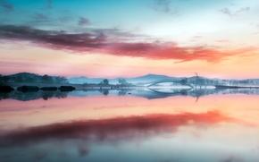 Picture fog, lake, morning