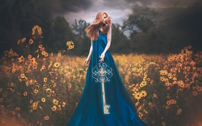 Picture girl, fantasy, key, art, The Gift of Discovery, Shelby Robinson