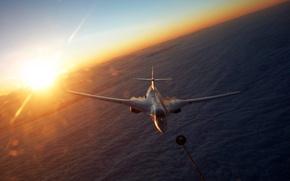 Wallpaper the sun, the plane, obloka, hose for refueling, Tu-160