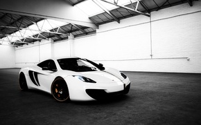 Wallpaper McLaren, MP4-12C, tuning, Toxic, MP4-12C, white, hangar, supercar, McLaren, Wheelsandmore, the front, tuning