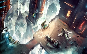 Wallpaper the city, future, people, spaceport, aircraft
