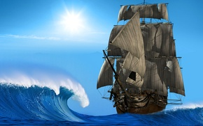 Picture photo, Sea, Wave, Ship, Sailboat, 3D Graphics