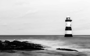 Picture sea, rocks, lighthouse, seagull, long exposure