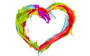 Picture squirt, heart, paint, colors, design, heart, splash, paint