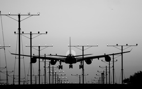 Picture lights, aircraft, plane, landing, black and white, aviation, b/w, A340, Airbus A340