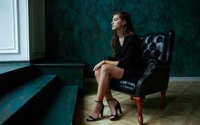 Wallpaper girl, reverie, face, hair, chair, sitting, cutie