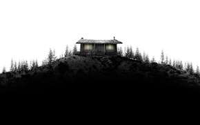 Wallpaper forest, trees, house, black and white, hill, house, hut, in the woods
