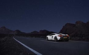 Picture road, auto, white, the sky, McLaren, stars, supercar, 570GT