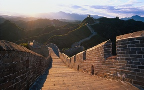 Picture the sun, light, landscape, mountains, hills, monument, China, The great wall of China