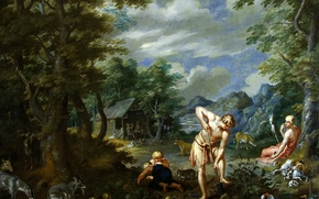Picture picture, mythology, Jan Brueghel the younger, Adam at work in the Field