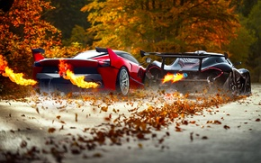 Picture McLaren, Red, Fire, Black, Ferrari, Exhaust, Supercars, Foliage, FXX K