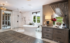 Picture flowers, design, style, window, bath, lamp, mansion, Design, Bathroom, Interior