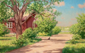 Picture summer, trees, landscape, house, river, picture, village, track, the bushes, cottage, Johan Krouthen, chickens