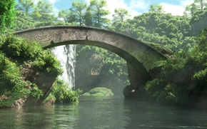Picture the sky, water, clouds, trees, bridge, river, waterfall