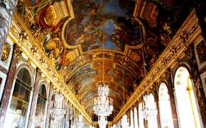Picture France, window, chandelier, mural, Versailles, Mirror gallery