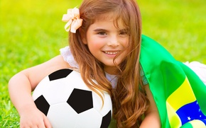 Picture summer, football, the ball, flag, girl