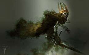 Picture death, background, sword, crown, skeleton, cloak