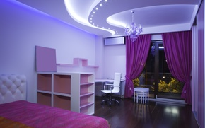 Picture room, chair, window, chandelier, bed, curtains