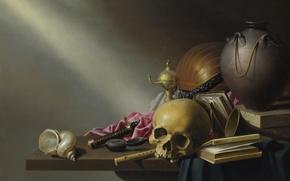 Picture skull, sword, shell, book, Still life
