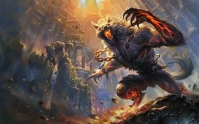 Wallpaper werewolf, Smite, magic, castle