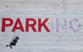 Wallpaper girl, stencil, park-ing, graffiti, banksy