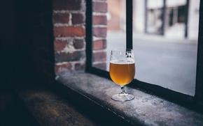 Wallpaper window, beer, glass