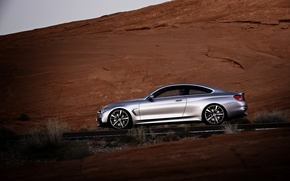 Picture road, Concept, door, BMW, Silver, Coupe, series, Side view