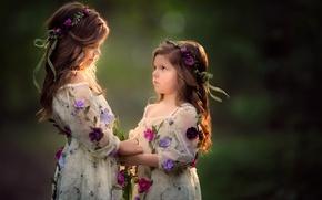 Wallpaper flowers, sisters, mood, background, wreaths, girls