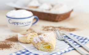 Picture food, Breakfast, Cup, cappuccino, cream, food, cup, sweet, cocoa, cream, dessert, cocoa, growing, breakfast, croissant, ...