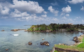 Picture The sky, Nature, Clouds, Panorama, Stones, Landscape, Coast, Sri Lanka, Galle
