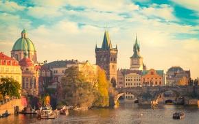 Picture the sky, clouds, people, ship, Prague, Czech Republic, Charles bridge, the Vltava river