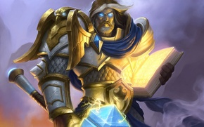 Picture hammer, art, hero, book, WoW, World of Warcraft, paladin, Hearthstone, Uther The Lightbringer, Uther the …