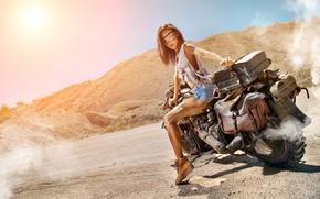 Picture road, girl, the sun, smoke, shorts, shoes, Mike, figure, glasses, hairstyle, motorcycle, biker, brown hair, …