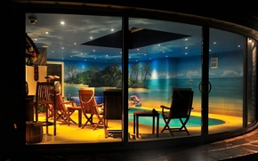 Picture style, interior, pool at night, house, Villa, pool, living space, design