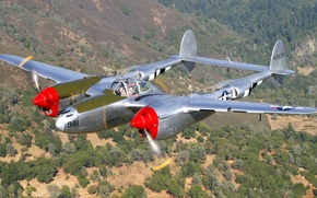 Picture flight, the plane, landscape, frame, fighter, propeller, bomber, Lightning, P-38J