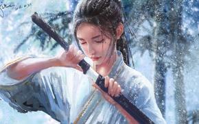 Picture winter, girl, snow, nature, katana, art, by xichechen