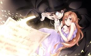 Picture girl, sheet, letters, magic, anime, art, guy, sword art online, yuuki asuna, kirigaya kazuto, conon