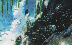 Wallpaper fish, rock, glare, jellyfish, underwater world, art, Like no Asukara, Hideki Takahashi, Once calm sea