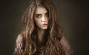 Picture sadness, look, girl, face, background, sweetheart, portrait, makeup, dress, brown hair, the beauty, studio, the …