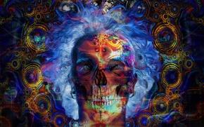 Picture rays, circles, blue, yellow, fantasy, model, graphics, people, skull, sleep, mystic, art, digital art, skul, ...
