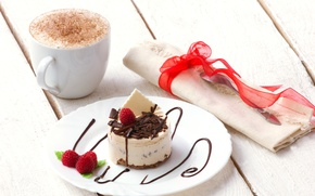 Picture coffee, cake, mint, dessert, foam, napkin, Malinka