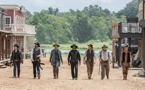 Picture forest, river, weapons, town, cowboys, hats, Western, Indian, Denzel Washington, Ethan Hawke, Chris Pratt, The …