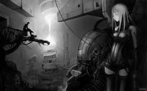Picture future, robot, cyborg, cyberpunk, Blame!, Blam!, monochrome
