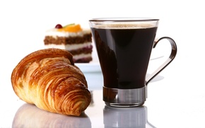 Picture coffee, cake, croissant