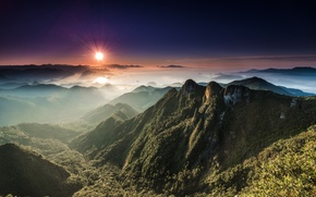 Picture the sun, landscape, mountains, valley, panorama